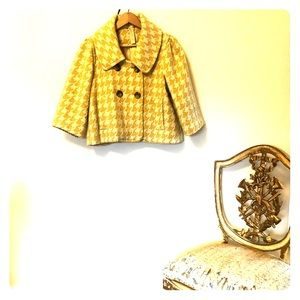 Yellow houndstooth (very) short jacket